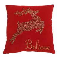 St. Nicholas Square ''Believe'' Reindeer Throw Pillow
