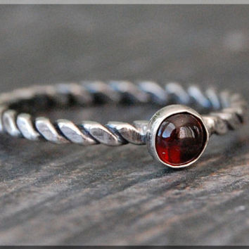 Root Chakras Stacking Ring, Sterling Silver Garnet Gemstone Chakra Ring, Stackable Rings, Chakra Jewelry, Yoga Jewelry, Mind Body Soul