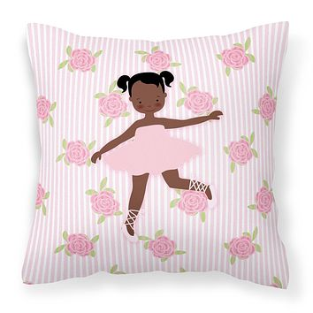Ballerina African American Ponytails Fabric Decorative Pillow BB5192PW1414