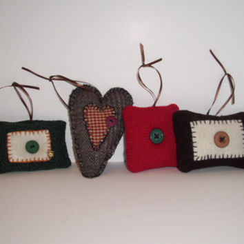 Six Handmade Rustic, Primitive Christmas Ornaments Made of Wool, Cinnamon Scented, Cottage Chic