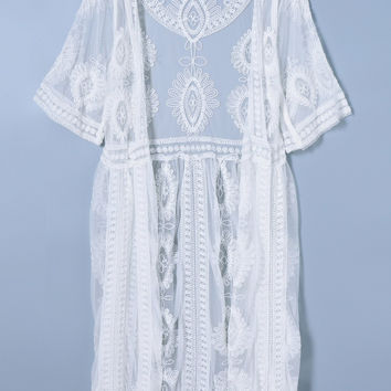 White Sheer Patchwork Cover-Up
