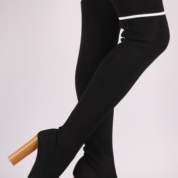 Qupid Ribbed Sweater Knit Striped Over-The-Knee Boots