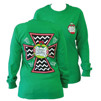 Southern Couture Christmas Chevron Cross Green Long Sleeve T Shirt
