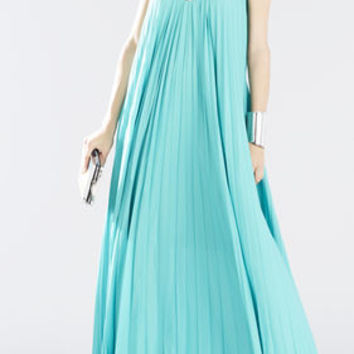 White/Green BCBG Nailah Beaded Neckline Pleated Gown