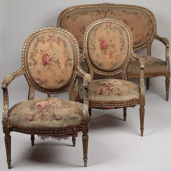 French Louis XVI Style Gilt Carved Salon Suite, an Antique Settee and Pair of Arm Chairs, c. the mid 19th Century