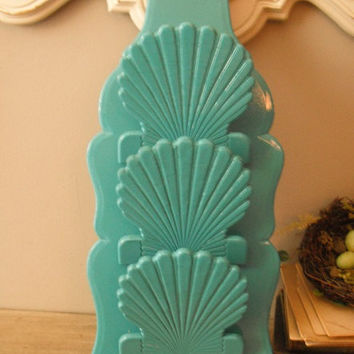 vintage upcycled AQUA Sea SHELL Letter Key holder ..BEACH cottage chic