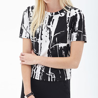 FOREVER 21 Paint Splattered Boxy Top White/Black Medium
