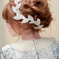 Bridal headpiece beaded leaf clip bridal headband by LoBoheme