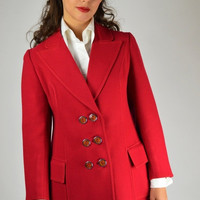 Sale, Red Blazer, Red Jacket, Red Wool Jacket, Vintage Jacket, 70's Vintage Jacket, Retro Jacket,