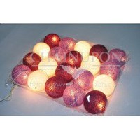 Purple Tone Cotton Balls String Lights