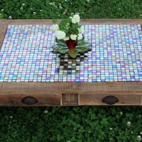 Large Coffee Table Tile Mosaic Reclaimed by natureinspiredcrafts