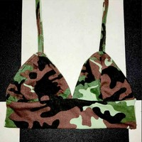 SWEET LORD O'MIGHTY! CAMO BABY BRALET IN GREEN