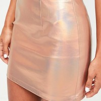 Missguided - Rose Gold Metallic Mini Skirt