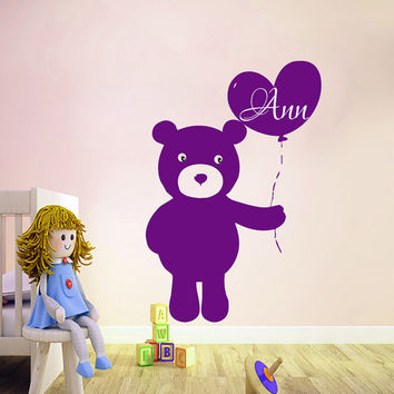 Wall Decals Personalized Name Bear Decal Vinyl Sticker Girl Nursery Playroom Bedroom Room Decor Home Interior Design Art Mural us17