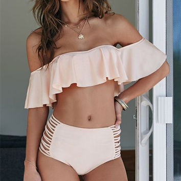 Baby Pink Off Shoulder Flounce Bikini 2017 New Ruffle Swimwear Padded Ruffled Swimsuit Strappy High Waist Biquini cintura alta