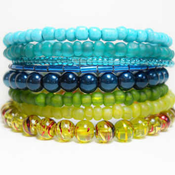 Stacked Bracelet Lakeside Blue and Green Memory Wire Beaded Wrap