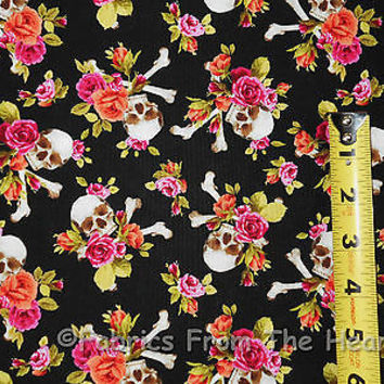 Charm Skulls & Pink Coral Roses on Black BY YARDS Michael Miller Cotton Fabric