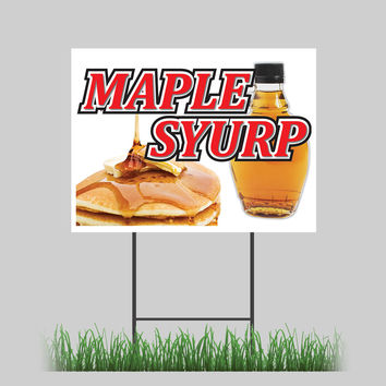 """18""""x24"""" Maple Syrup Yard Sign Pancakes Waffles Breakfast Restaurant Sign"""