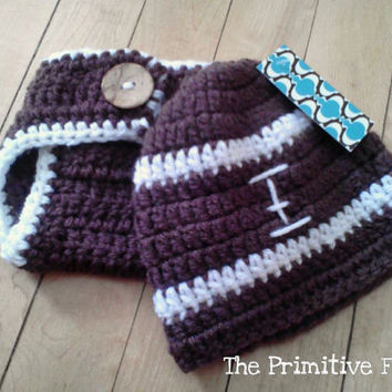 Crochet Baby Boy Football Hat Diaper Cover Set NFL Shop SALE Newborn