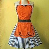 Halloween apron retro apron ORANGE BLACK by loverdoversclothing