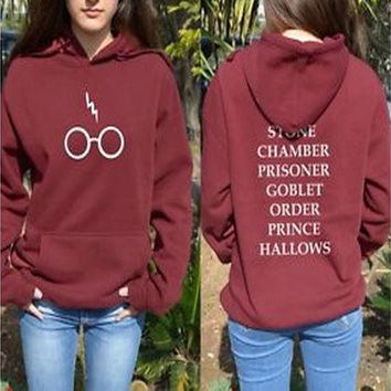 Harry Potter Hoddie Hoody Glasses Hogwarts Alumni BOOK Titles Sweater Sweatshirt [8833402956]