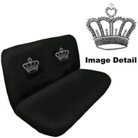 Crown Gem Crystal Studded Rhinestone Bling Car Truck SUV Rear Bench Seat Cover