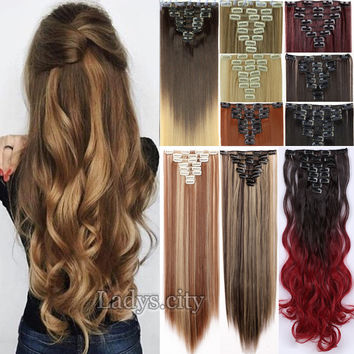50Colors Long 26 Inches Straight 8PIECE/SET Real Thick 170g Clip in Full Head Hair Extensions Extentions human New Hair Style