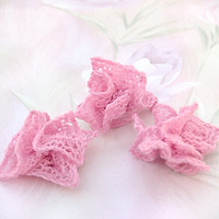 Hand-knit Lace Hair Flowers, Bridesmaid/Flower Girl Accessories, Estonian Lace, Listing for Three Flowers