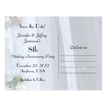 Save the Date 8th Wedding Anniversary Announcement Postcard