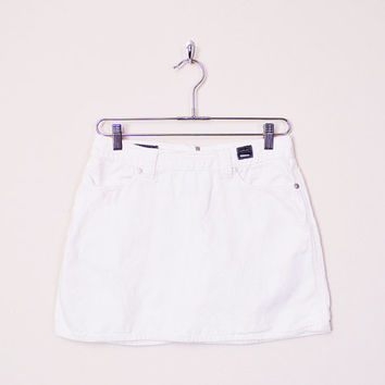 Versace Skirt Versace Jeans Couture Skirt 90s Mini Skirt Off White Skirt Linen Skirt Jean Skirt Denim Skirt 90s Skirt Women 28 42 S Small
