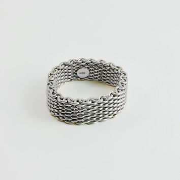 Mesh Ring - Sterling Mesh Ring - Sterling Ring - Wide Band Ring - Woven Silver Ring Size 9.75