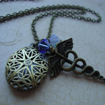 Hermes - Percy Jackson Inspired Hermes Scent Locket Necklace in Antiqued Brass Filigree w/ Caduceus Charm and Blue Swarovski Crystals