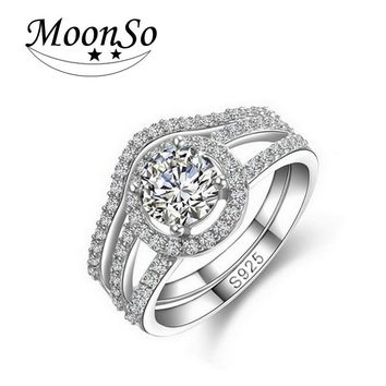 Moonso Luxury Genuine 925 Sterling Silver rings set band for women wedding engagement Rings sets R235