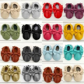 Cool Boys Baby Toddler Girls Soft Boeknot Moccasins Tassel Leather Shoes 0-24M = 19321