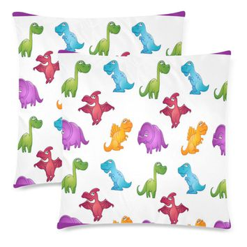 """Dinosaurs Throw Pillow Covers 18""""x 18"""" (Set of 2)"""