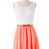 Little Bow Peep Dress - Neon Coral