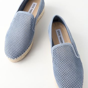 Wright Blue Leather Perforated Slip-On Espadrille Sneakers