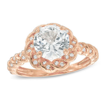8.0mm Lab-Created White Sapphire Flower Ring in Sterling Silver with 14K Rose Gold Plate