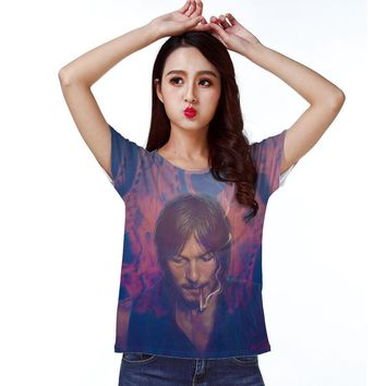 Track Ship+New Fresh Summer Hot T-shirt Top Tee Totem The Walking Dead Zombie Daryl Dixon Smoking 1507