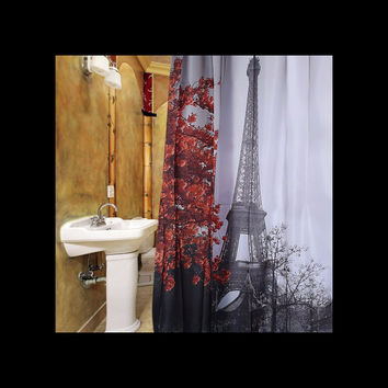 Cityscape Paris Red Maple Eiffel Tower Shower Curtain w/Rings