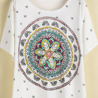 White Short Sleeve Vintage Floral Loose T-Shirt - Sheinside.com