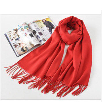 Red Fringed Long Scarf