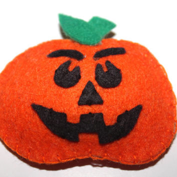 Halloween hair clip Pumpkin hair clip felt hair clip Jack-o-Lantern hair clip Pumpkin snap hair clip Fall hair clip Girls hair accessories