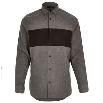 Black Color Block Striped Grey Button-Up Shirt