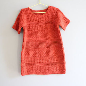 Handmade Toddler Deep Orange Cable Knit One Piece Dress /  Tunic fits 3 to 4 years old