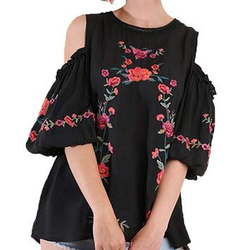 Umgee Women's Cold Shoulder Puffed Sleeve Embroidered Blouse