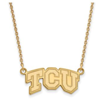 NCAA 14k Gold Plated Silver Texas Christian U Sm TCU Pendant Necklace