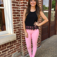 Walk this way Jeggings - Light Pink