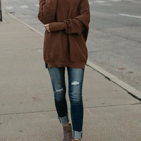 Dark Camel Cut Out Off Shoulder Slouchy Long Sleeve Pullover Sweater