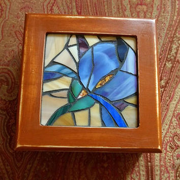 Blue Iris Jewelry Box, Stained Glass Iris, Blue Iris Mosaic Jewelry Box, Upcycled Wooden Jewelry Box